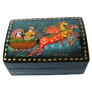 Genuine Painted Russian Lacquered Troyka Box - Hand Painted Russian Box - Troika Box - Signed Tranex - Trinket Box - Jewelry Box