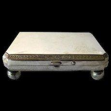 Silver Footed Presentation Box - Watch Presentation Box - Silver Plated Jewelry Box - Repousse Silver Box
