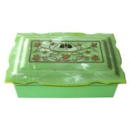 Celluloid Dresser Box For Trinkets or Vanity Table Butterfly Art Deco Design