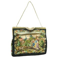 French Tapestry Purse with Scenic Design and Marcasite Encrusted Frame Hand Made In France by Benlux
