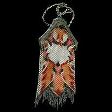 Mandalian Art Deco Mesh Purse 1920s - Art Deco Flapper Purse - Painted Mesh Purse