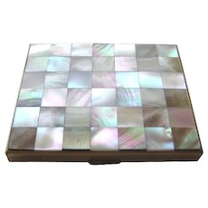 Mother Of Pearl Checkerboard Compact by Kaycraft - Kay Craft Compact - Vintage Vanity Compact - Powder Compact - Vintage Handbag Mirror
