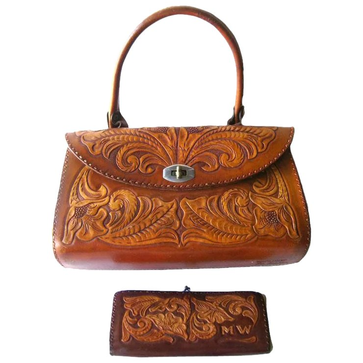 Hand Tooled Leather Purse And Wallet Signed By Artist Les Grahan Boho