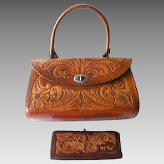 Hand Tooled Leather Purse and Wallet Signed by Artist - Les Grahan Signed  Purse - BOHO 4ec97e1d16