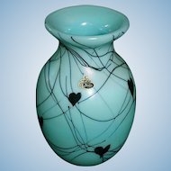 Fenton art glass hand made turquoise Hanging Hearts Vase