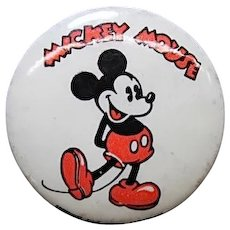 "1930's Mickey Mouse 1 1/4"" celluloid pinback with Kay Kaymen back ad"