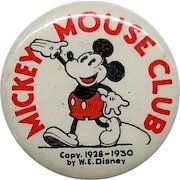 """1930's Mickey Mouse Club 1 1/4"""" celluloid pin back with back ad"""