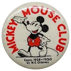 "1930's Mickey Mouse Club 1 1/4"" celluloid pin back with back ad"