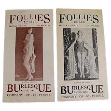Lot of 14 theater programs, Follies Theater, Los Angeles, California, 1920's/1930's