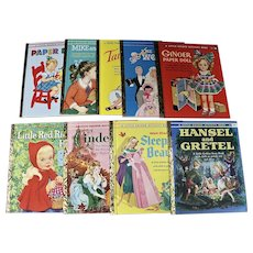 Nine Vintage Little Golden Book Paper Doll Cut Out books, 1951 through 1963