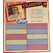 Cigarette Game Board, Unused, 1930's