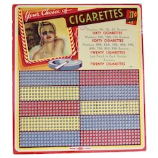 Cigarette Game Board, Unused, 1930's