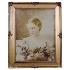 1897 framed tinted photo of young woman/ James Arthur photographer