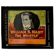 "William S. Hart vintage glass ""coming attractions"" glass slide"