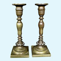 Pair of Antique Bronze Candlestick Holders