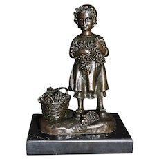 Antique Bronze Figurine With Basket and Grapes