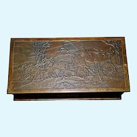 Silver Crest Decorated Bronze Humidor