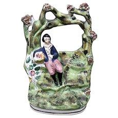 Antique Staffordshire Pottery- Boy Under Arbor