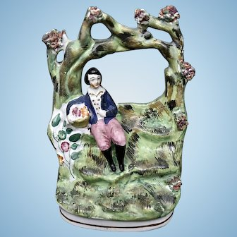 Antique Staffordshire Pottery- Boy Under Arbor