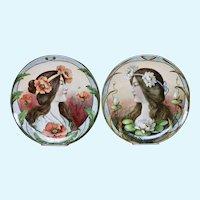 Art Nouveau era hand painted plates-Germany