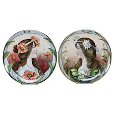 Art Nouveau era hand painted plates-Germany