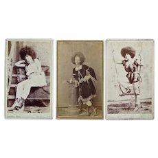 Three CDV's of Circassian Moss Haired Circus Beauties, c: 1880