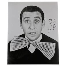 Soupy Sales signed and inscribed black and white portrait photograph