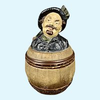 Antique Humidor/Tobacco Jar with Figural Top