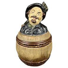 Antique Humidor/Tobacco Jar with Figural Top
