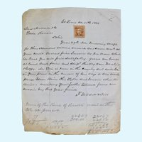 Post Civil War hand written receipts with George Washington two cent interior stamp