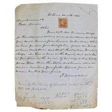 Post Civil War hand written receipts with George Washington two cent interior stamp