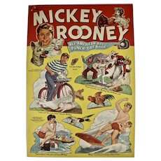 Mickey Rooney All-American Boy Punch-Out Book/1941