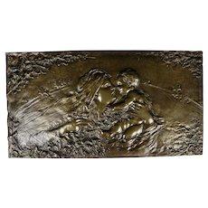 Antique Nouveau Bronze Plaque