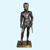 Antique Figural Bronze of Young Prince Henry IV, Signed