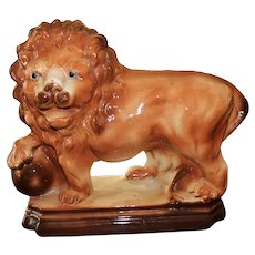 English Staffordshire standing lion, early 20th century