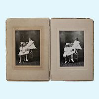 Pair of Black and White Antique Photographs of, most likely, Sisters