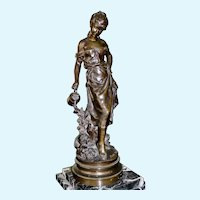 Mathurin Moreau Female Bronze Watering Garden (French, late 19th Century)