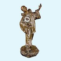 Jules Aime' Grosjean (1872-1906) Bronze Pierrot figurine lamp