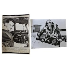 Two Howard Hughes photographs, announcement of his death