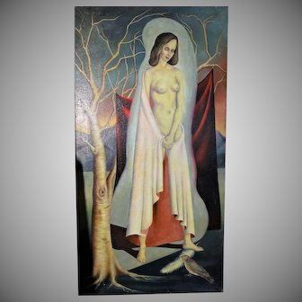 Superb Large Surrealist Period Oil Painting of an Angelic Nude ca. 1920-40
