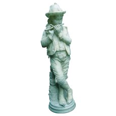 Spectacular Quality Italian 19th Century Carved Alabaster Pied Piper -- 34 Inches
