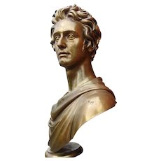 Important Historic Massive Bronze Portrait Bust Rome 1823 By Thomas Campbell And Cast By Louis Claude Ferdinand Soyer Paris 1824
