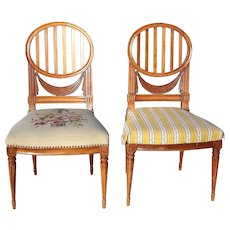 Italian Directoire PAIR 1820 Carved Walnut Open Back Side Chairs