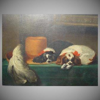 Wonderful Huge American 1853 Pennsylvania Folk Art Oil Painting King Charles Spaniels - After Landseer