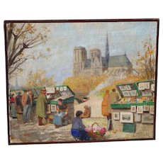 Excellent French Notre Dame Street Market Oil Painting by Rene George Gautier