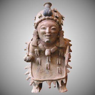 Superb Large Pre-Columbian Jama Coaque Shaman Corn God 300-500 AD