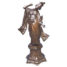 Superior Quality Alois Stehle Bronze Beautiful Dancing Geisha Girl ca. 1900