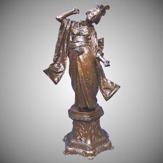 Superior Quality Alois Stehle Bronze Beautiful Dancing Geisha Girl ca. 1900