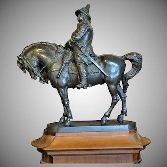 Monumental Maquette Bronze King Karl X Gustav On Magnificent Horse Sweden J. Borjeson 1895