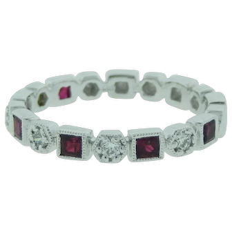 Stackable Ruby And Diamond Ring